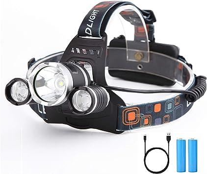 Yizhet Linterna Frontal LED Recargables Luces Super Brillantes,4 Modos de Luz y hasta 300 Metros Cabeza Impermeable para ...