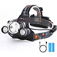 Yizhet Linterna Frontal LED Recargables Luces Super Brillantes,4