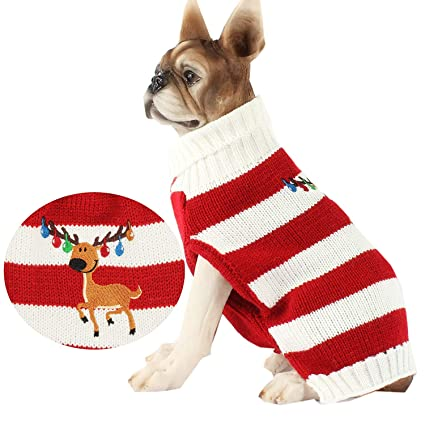 a919abb0dba6 Amazon.com   HAPEE Christmas Dog Sweater with Elk