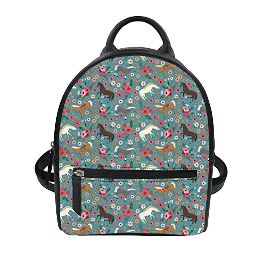 Coloranimal Small PU Leather Backpack Purse Horse Flower School Bagpacks  for Kids 9661460dcd177