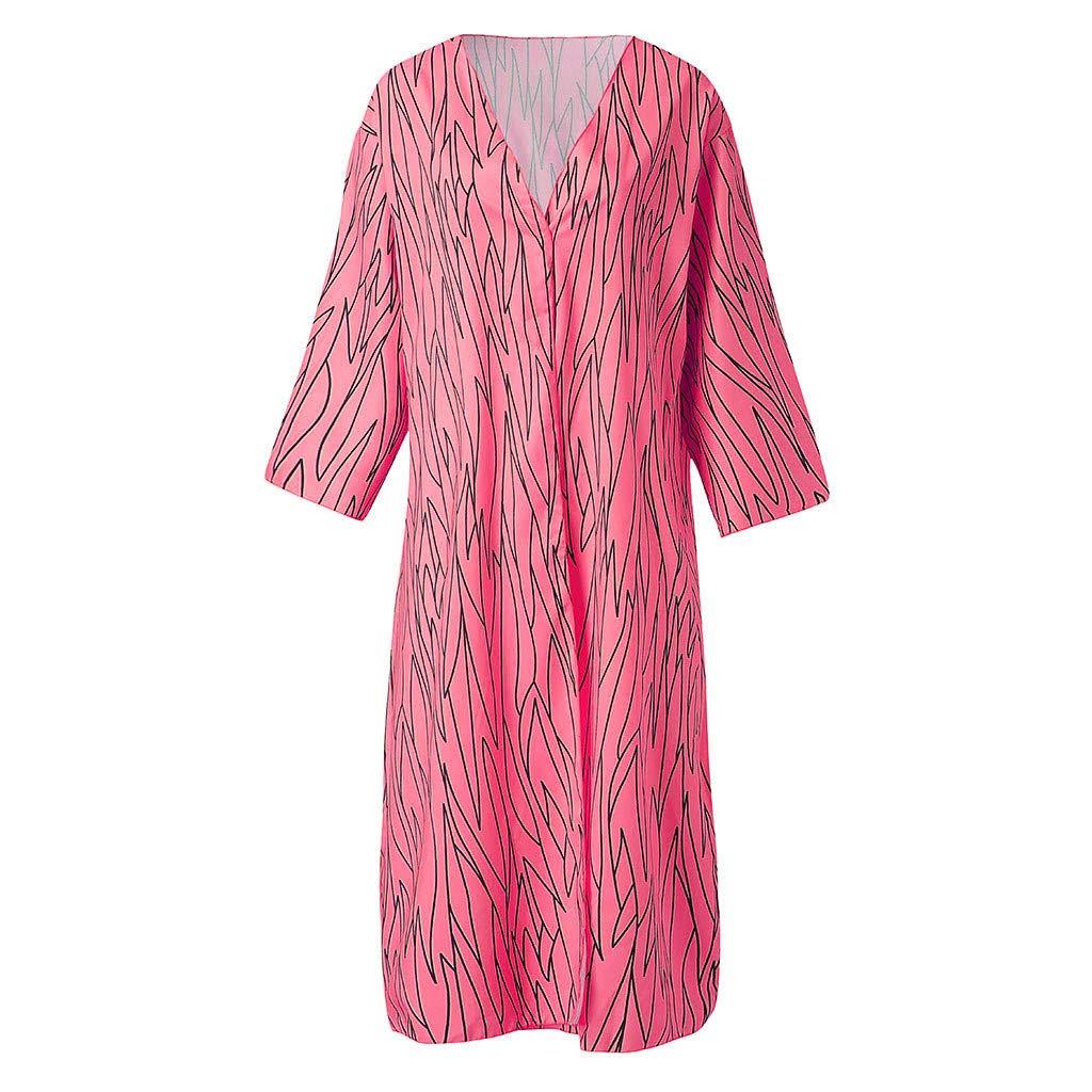 VEZAD Women Floral Print Sheer Kimono Cover Up Loose Summer Chiffon Cardigan Tops