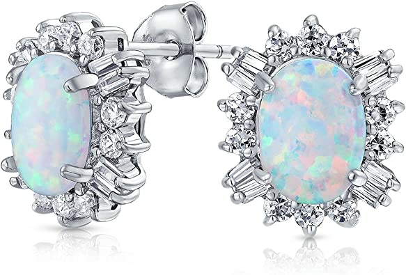 Sterling Silver Rose-tone Simulated Opal and Cubic Zirconia Halo Post Earrings