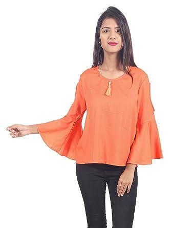 eb344735a0c24 Secret Bazaar Women s Rayon Pain Cold Shoulder Top(Orange)  Amazon ...