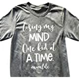 ZJP Women Short Sleeve Round Neck MOM Life Letter Print Casual T-shirt Tee Shirt