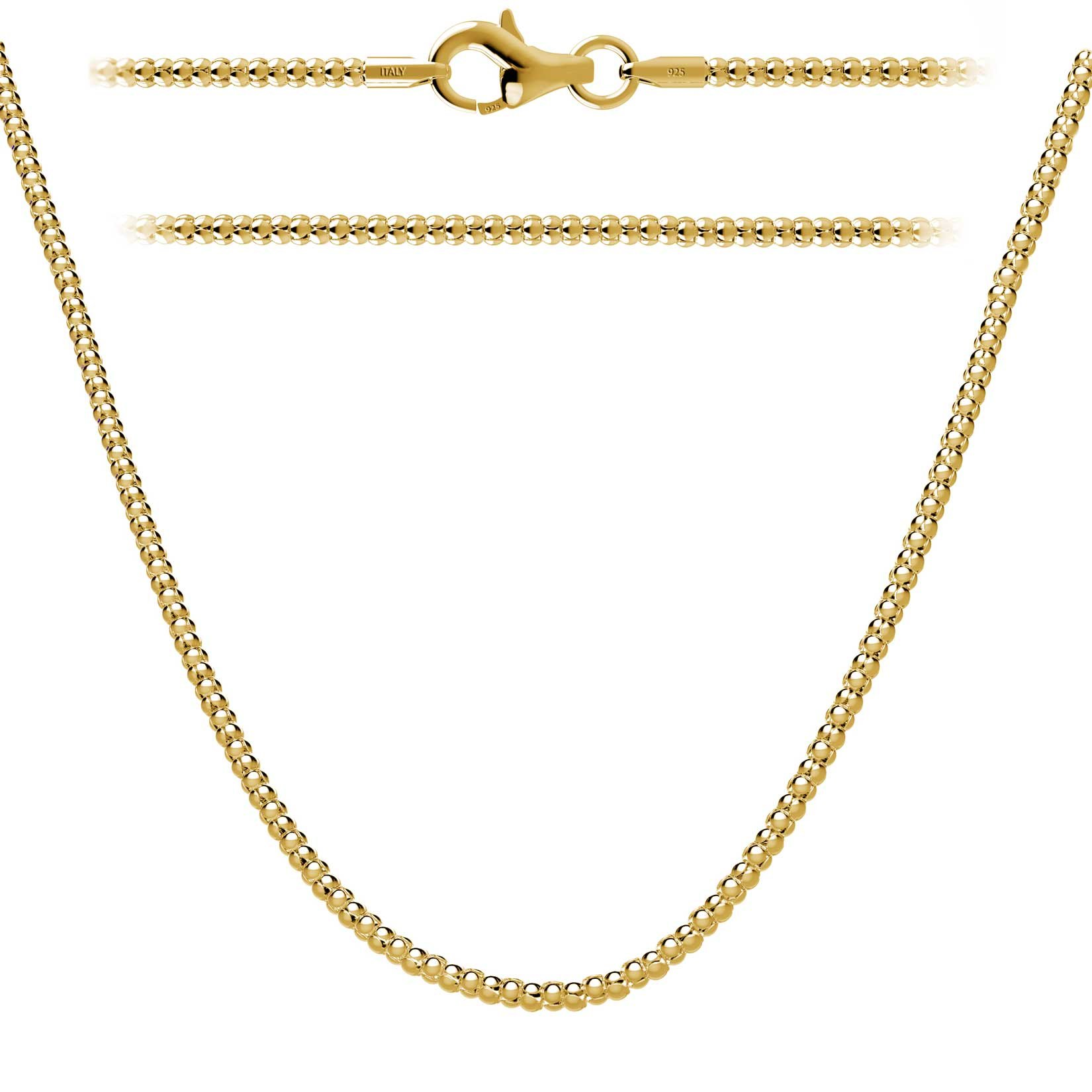 Kezef 18K Gold Plated 1.6mm Italian Sterling Silver Popcorn Chain Necklace 18'' in with Lobster Clasp