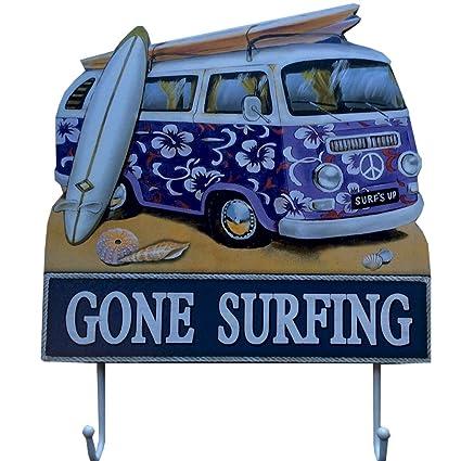 Furgoneta de llaves en morado con tabla de surf
