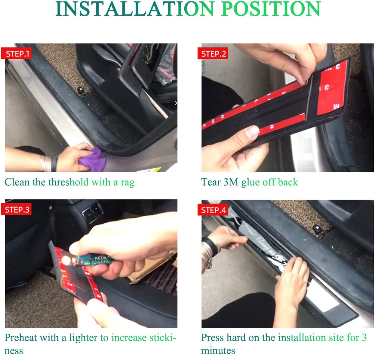 wowowa 4pcs Car Door Threshold Stainless steel Decoration Trim Door Sill Scuff Plate Protector Entry Guard Cover for Ford Fiesta 2009-2015 2016 2017