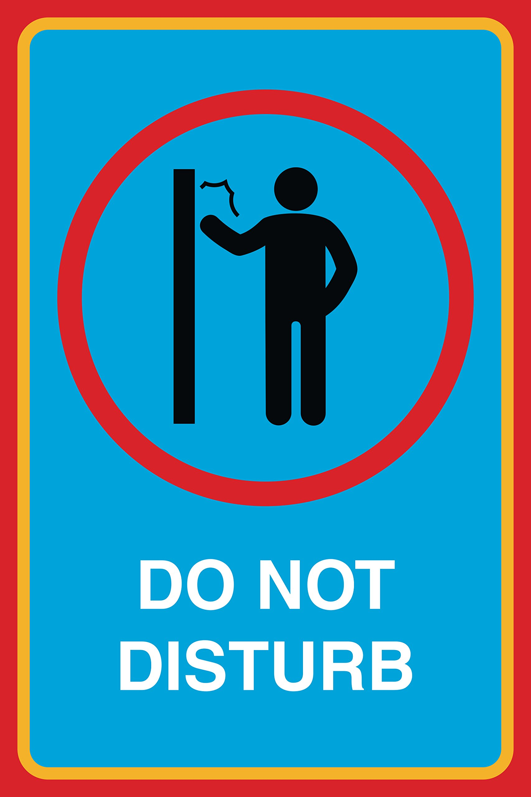 Do Not Disturb Print No Knocking On Door Man Picture Notice Office Business Sign Aluminum Metal by iCandy Combat (Image #1)