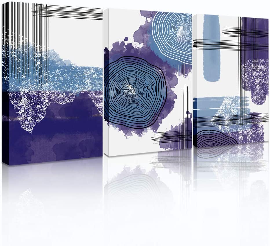 Abstract Canvas Wall Art painting for Living Room Wall Decor for Office bathroom purple Canvas Walls Pictures Artwork Modern bedroom room Guest Home Wall Decoration accessories Prints-12X16inch3 Piece