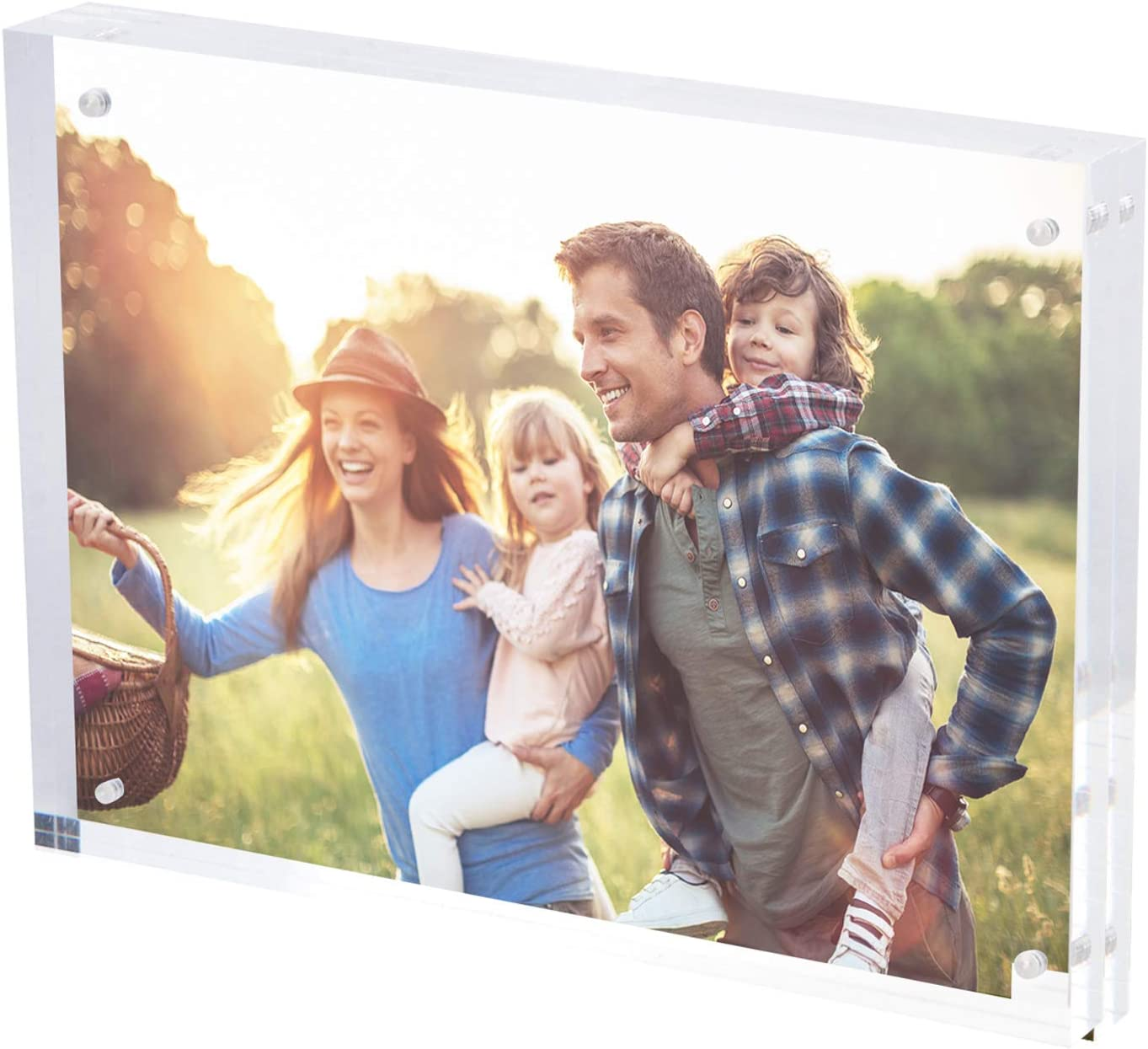 SimbaLux Magnetic Acrylic Picture Photo Frame 8x10 inches (1 Pack), Clear Glass Like, Double Sided Frameless Desktop Floating Display, Free Standing, Easy to Change, 2.4cm Thick, 20% Thicker than Most