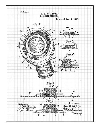 Amazon Com Hose Coupling Patent Print Art Poster Blue Grid 18 X