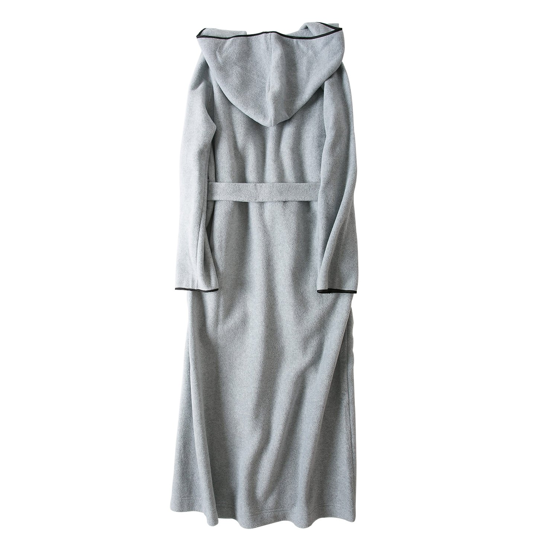 7 VEILS Women and Men Microfleece Ultra Long Floor-Length Hooded Bathrobes-Dark Gray-S