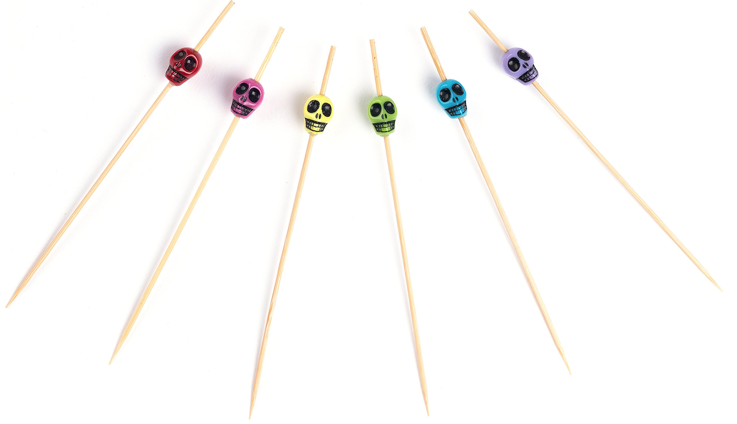 PuTwo Cocktail Picks Handmade Bamboo Toothpicks 100ct 4.7'' in Multicolor Skulls by PuTwo (Image #2)