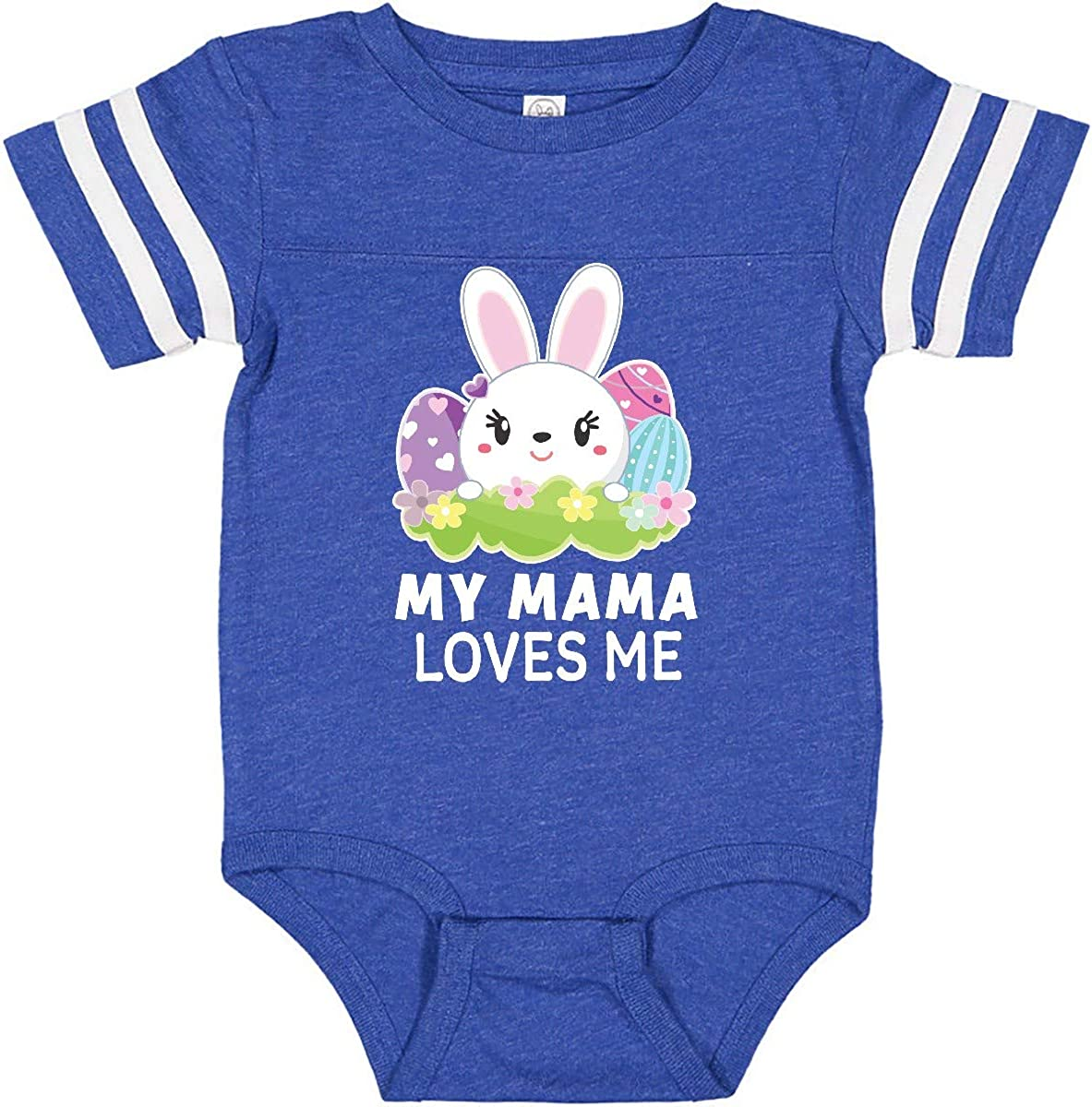 inktastic My Mama Loves Me with Bunny and Easter Eggs Infant Creeper