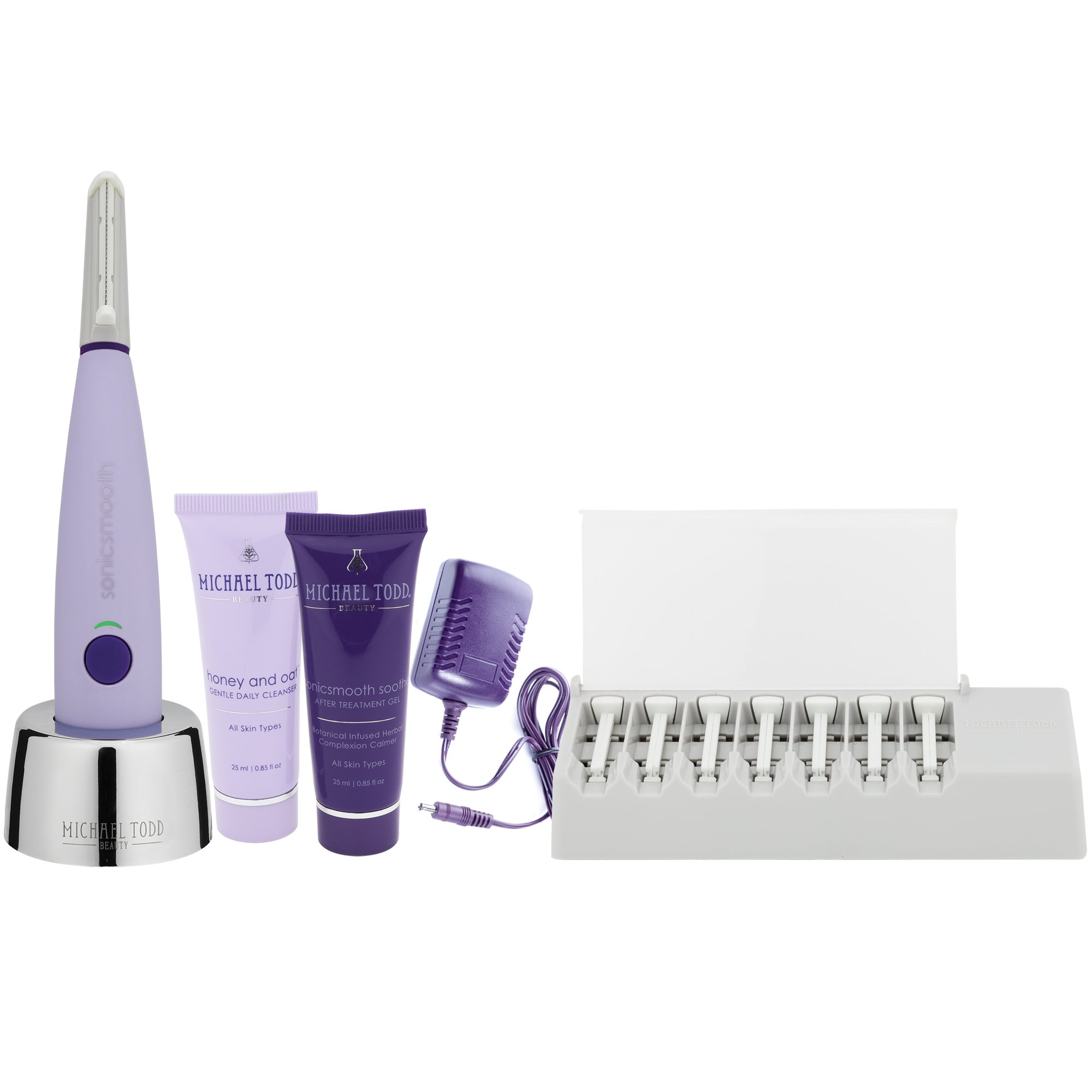 Michael Todd Sonicsmooth At-Home Dermaplaning Kit with Replacement Safety Edges, Cleanser & Serum, Sonic Powered Peach Fuzz Remover and Exfoliation Tool, Lavender