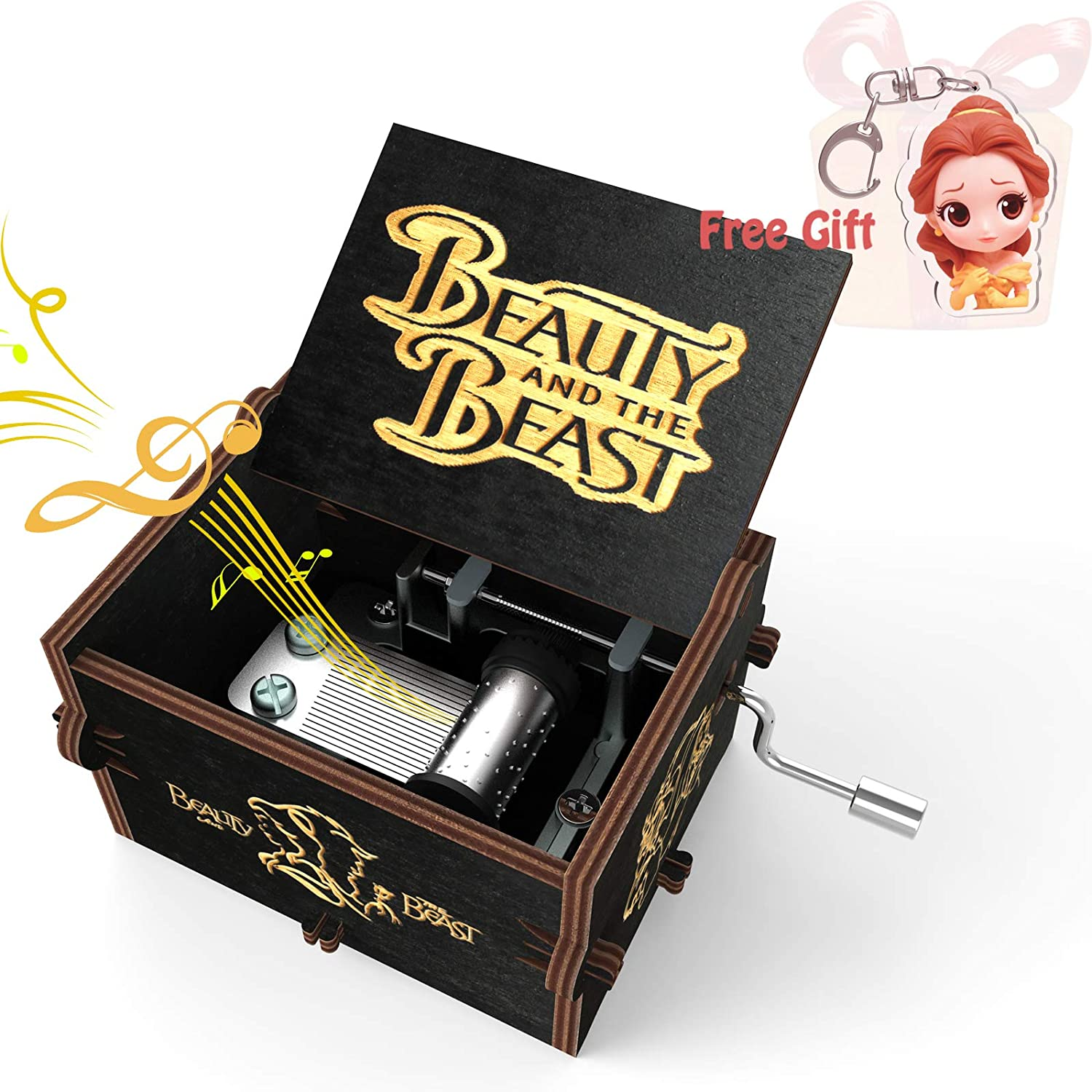 ROSIKING Beauty and The Beast Heart Shaped Vintage Wood Carved Mechanism Musical Box Wind Up Music Box