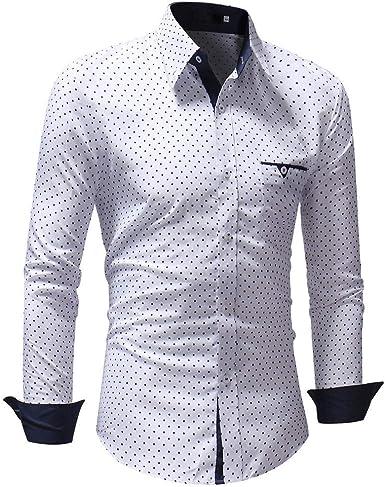 Overdose Camisas Hombre Cuadros Estampadas Manga Larga Camisas Hombre Lunares Camisetas Hombres Italianas Slim Fit Blanca Retro: Amazon.es: Ropa y accesorios