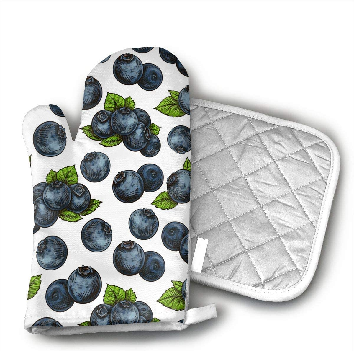 dtyGHSP Blueberry Pattern Oven Mitts with Quilted Cotton Lining - Professional Heat Resistant Potholder Kitchen Gloves