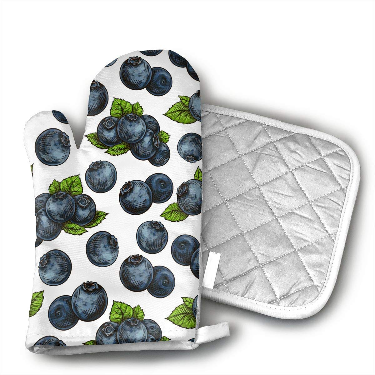 HAIQLK Blueberry Pattern Oven Mitts with Quilted Cotton Lining - Professional Heat Resistant Potholder Kitchen Gloves