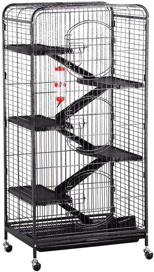 Popamazing - Jaula de 5 niveles para conejos de conejos, hámsters y cobayas, 64 x 43 x 131 cm, con ruedas de escaleras: Amazon.es: Productos para mascotas