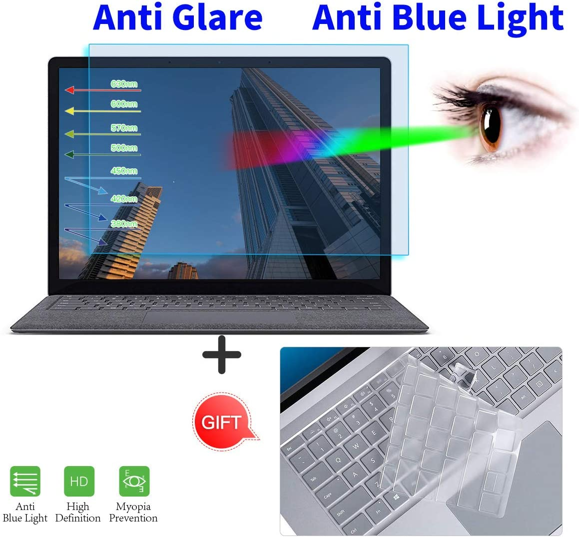 """Surface Laptop 3 15 Inch Screen Protector, Anti Blue Light Anti Glare Screen Filter with Keyboard Cover for Microsoft Surface Laptop 3 15"""" Laptop Anti Glare Blue Light Eye Protection Screen Protector"""