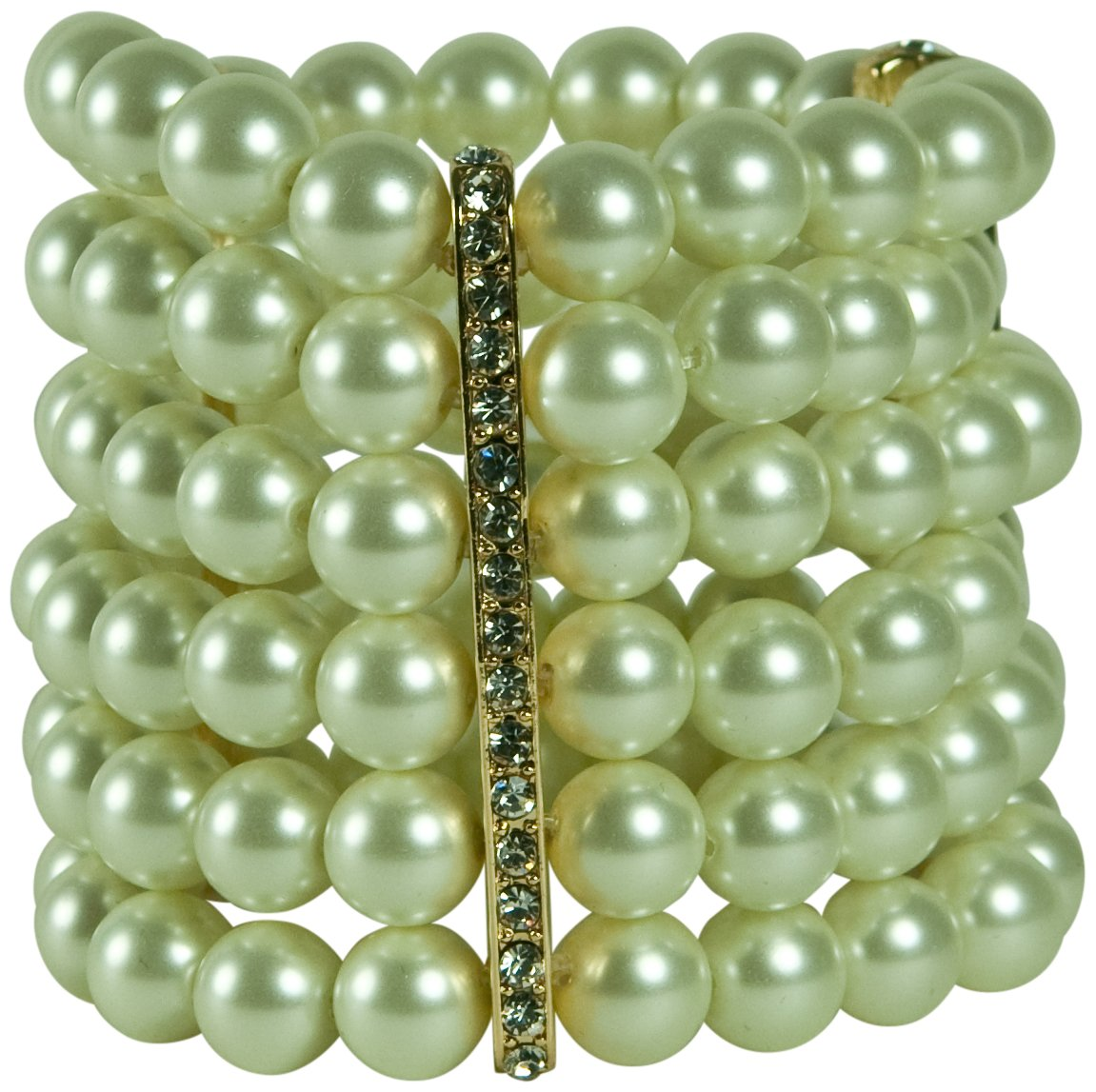 KENNETH JAY LANE-6 ROW GLASS PEARL STRETCH BRACELET WITH 3 CRYSTAL BAR STATIONS by Kenneth Jay Lane