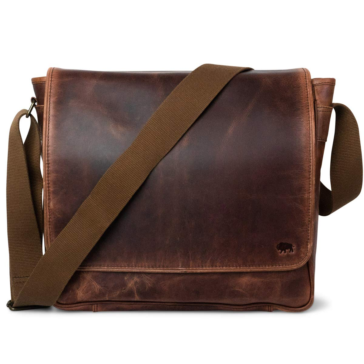 Genuine Buffalo Full-Grain Leather Satchel Messenger Bag for Men | Roosevelt by Buffalo Jackson | Fits 13'', 14'', 15'' Laptop Computers | Color: Dark Oak