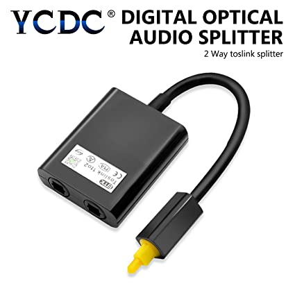 YCDC Fiber Optic Audio Cable Splitter 1-In-2-Out, 2 Way