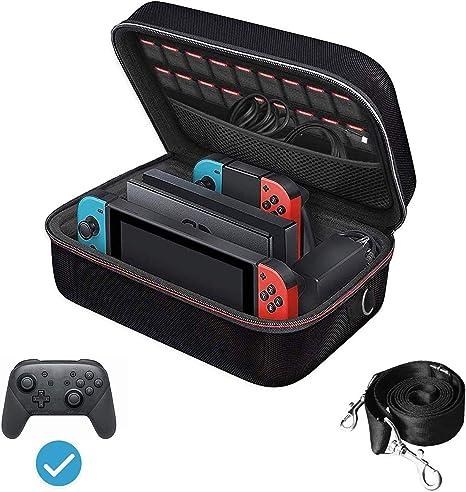 ivoler Funda para Nintendo Switch, Estuche Dura de Transporte, Carcasa Rígida de Viaje para Consola, Adaptador AC, Joy-con Grip, Strap Joy-con, 18 Cartuchos de Juegos y Otros Accesorios: Amazon.es: Electrónica
