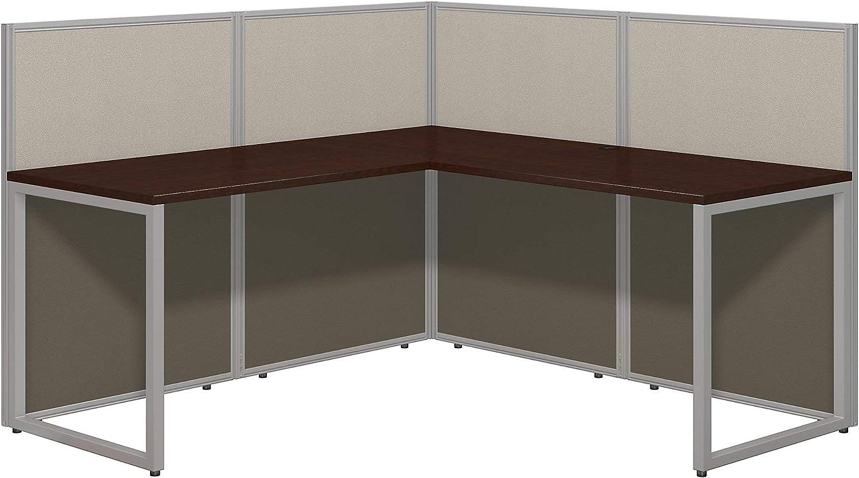 Bush Business Furniture Easy Office 60W L Shaped Desk Open Office in Mocha Cherry