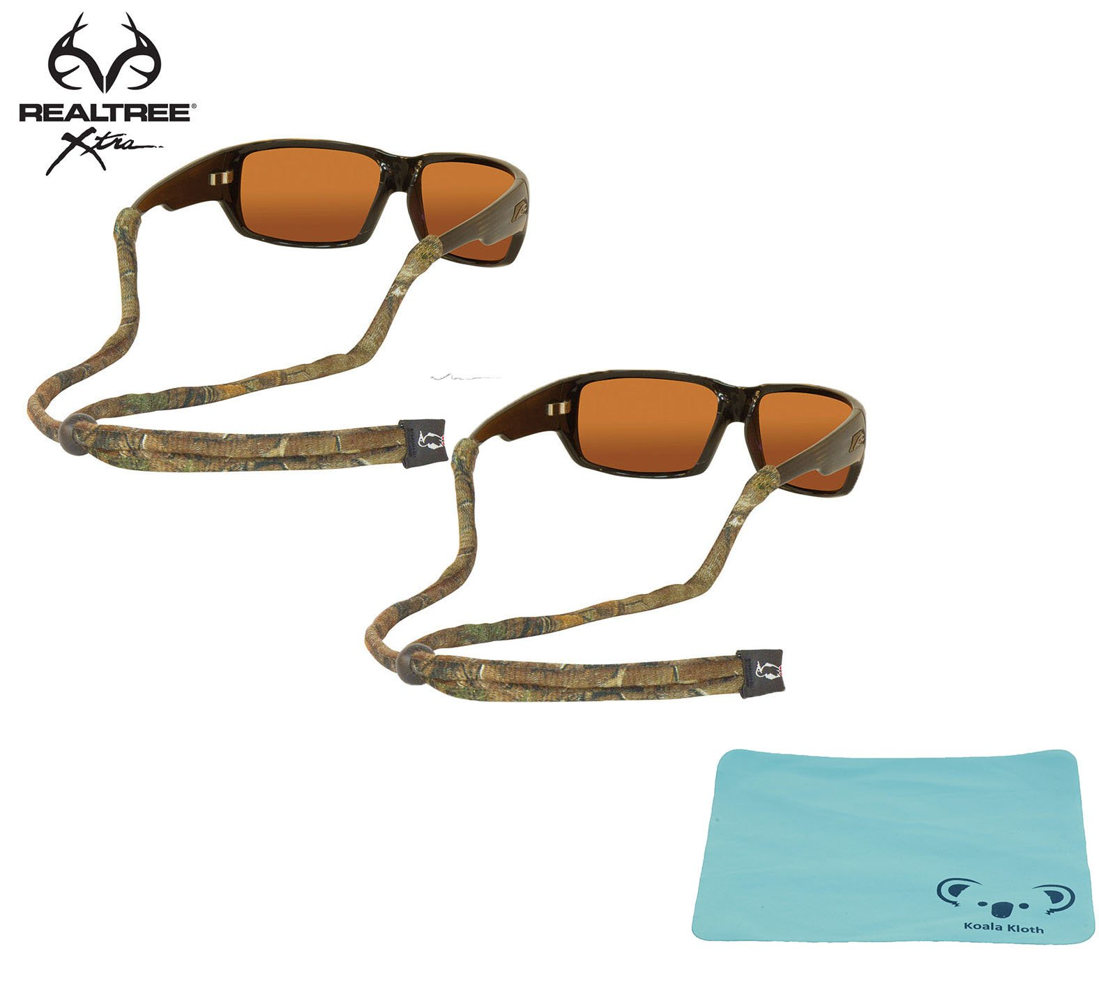 Chums Original Cotton Camoflauge Eyewear Retainer Sunglass Strap | Adjustable Eyeglass & Sports Glasses Holder Keeper Lanyard | 2pk Bundle + Cloth, Realtree Xtra