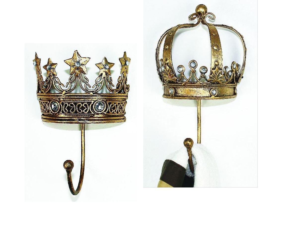 King Queen Crown Wall Hook Set | Jeweled Gold Princess Metal