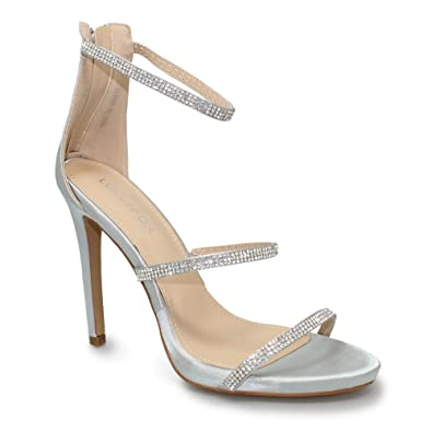 360cbc4a14f Lunar Lollyfox Adara Three Strap Diamante Heeled Glitz Sandal in Gold Or  Silver