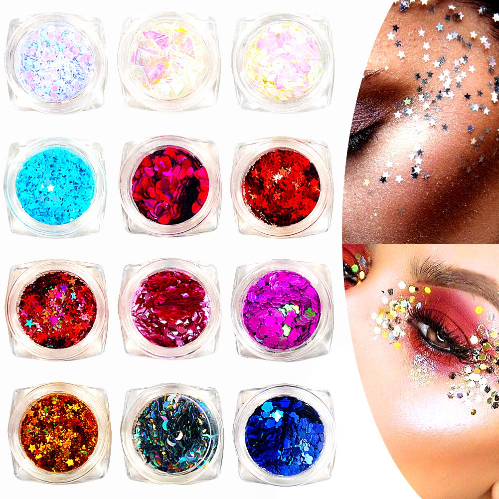 12 Colors Nails Festival Glitter Face Body Hair Decoration, 3D Nail Art Chunky Glitter Powder,Sparkles,Rhinestones, Sequins Nail Salons Equipment for Christmas, Halloween DIY Craft Mermaid Unicorn Designs(Star + heart + flower) Sparkles,Rhinestones Imanom