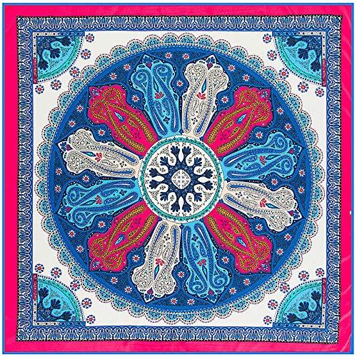 Women's Fashion Blue Printed Square Scarf Shawl Wraps Hijab 39'' 39''