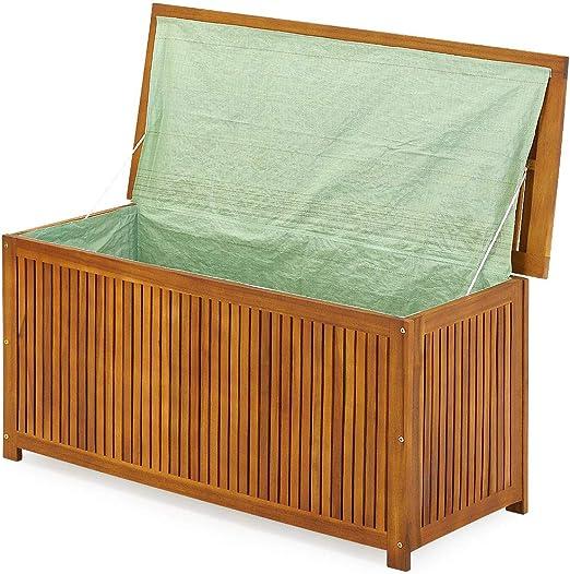 Deuba Baúl de almacenaje de madera de acacia con tapa y funda protectora al interior arcón para accesorios: Amazon.es: Jardín