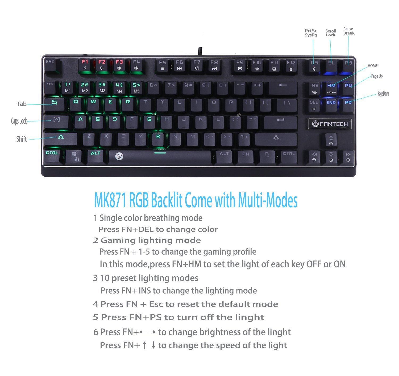 Teclado mecánico Fantech Gaming Teclado 87 teclas LED con retroiluminación multicolor 10 Full Anti-ghosting Diseño para jugadores y typists-us diseño: ...