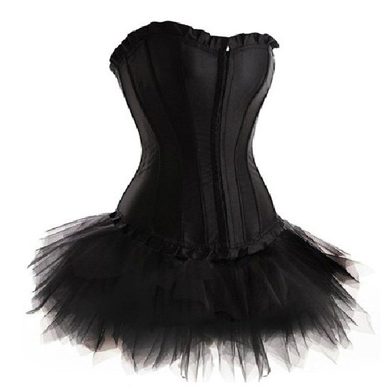 CLUBCORSETS® Ladies Moulin Rouge Burlesque Gothic Punk Black Corset with Tutu Plus Size