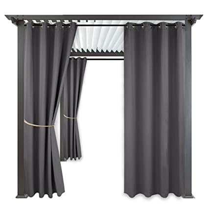 RYB HOME Blackout Outdoor Curtains   Indoor Outdoor Curtains Shades Grommet  Top Waterproof U0026 Windproof Privacy