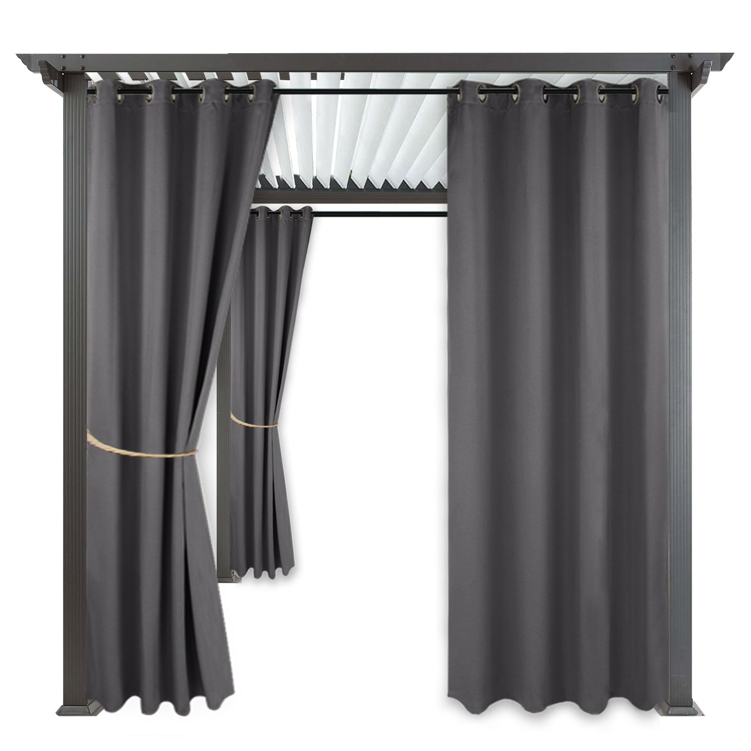 RYB HOME Blackout Outdoor Curtains - Indoor Outdoor Curtains Shades Grommet Top Waterproof & Windproof Privacy Protect Drapes for Front Gazebo/Patio, 1 Panel, Wide 52 by Long 84 Inch, Grey