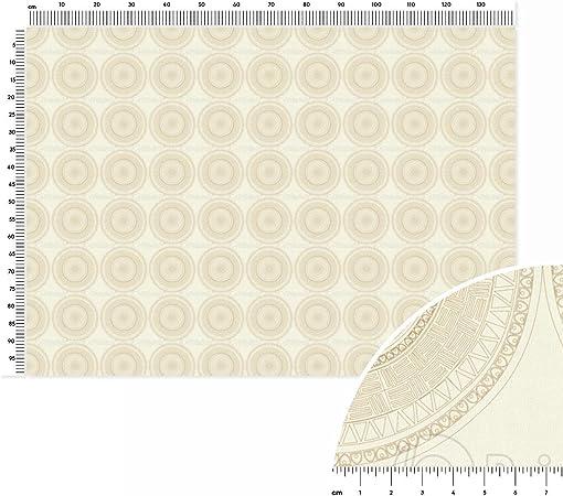 Azteca Mandala, algodón, liso tela metro lineal (140 x 100 cm), color blanco y gris: Amazon.es: Hogar