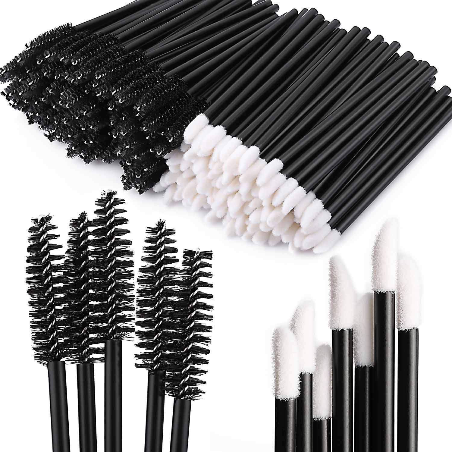 Tbestmax 200 Disposable Mascara Wand Spoolies and Lip Brushes, Lipstick Lipgloss Applicator for Eyebrow Eyelash Extension Makeup Kits: Beauty