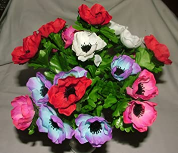 Amazon artificial silk anemone bush with leaves 21 flower heads artificial silk anemone bush with leaves 21 flower heads grave home weddings spring flowers by mightylinksfo