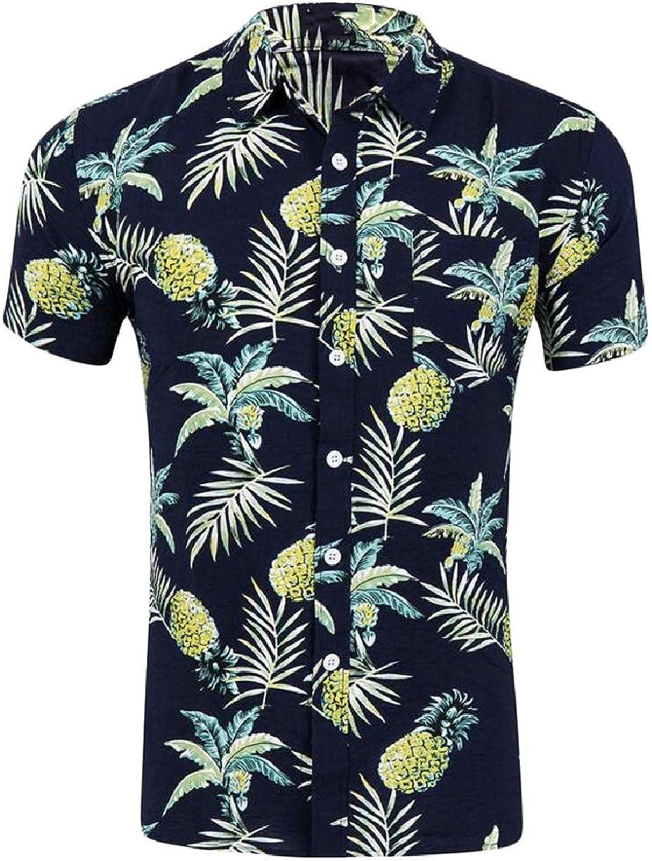 ZXFHZS Mens Short Sleeve Hawaii Printing Beach Button Down Dress Shirts