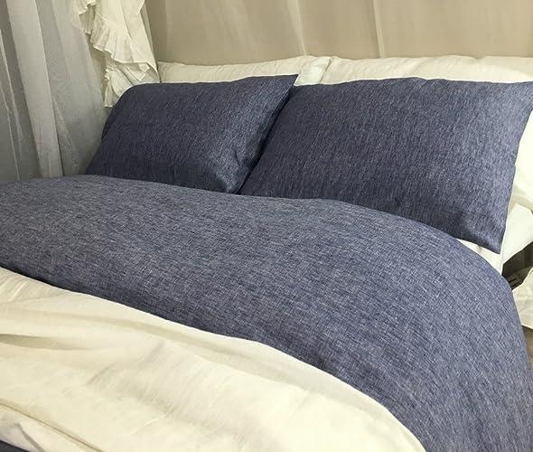 denim blue chambray duvet cover hanmade in natural linen blue bedding custom bedding