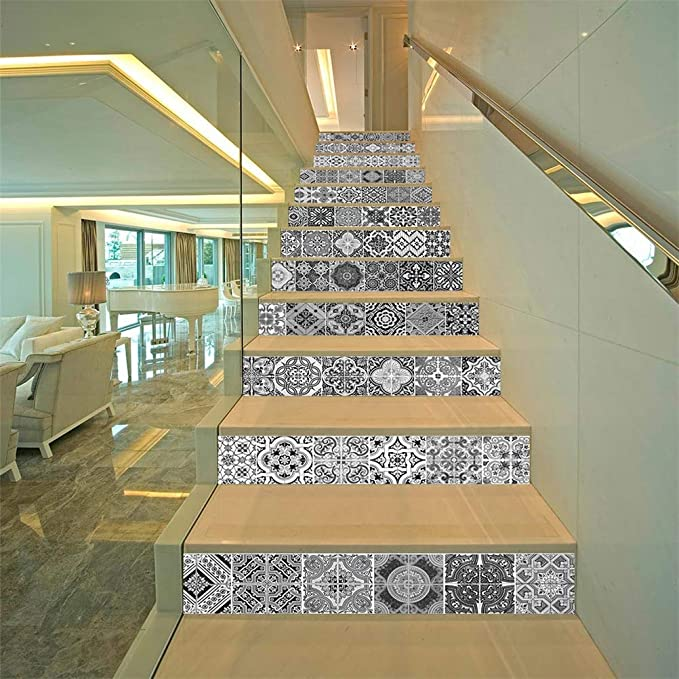 DESHOME 13 Piezas de Escalera Vertical, Etiqueta de Pared 3D PVC Impermeable Autoadhesivo extraíble Escalera Ascendente calcomanías para escaleras o decoración para el hogar - 100 * 18 cm,G: Amazon.es: Hogar