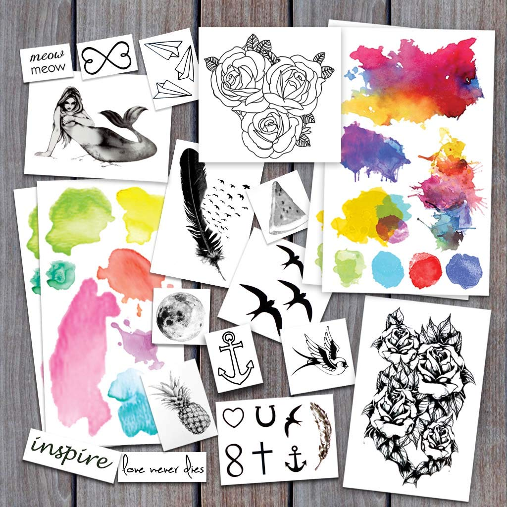 Watercolor & Overlays Pack Temporary Tattoos   Skin Safe   MADE IN THE USA  Removable