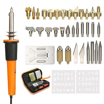 39 piezas Juego pirograbado Leña Soldadura Pen Tool Set, gochange 30 W 37pcs Pins de