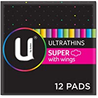 U by Kotex Ultrathin Pads Super with Wings, Pack of 12