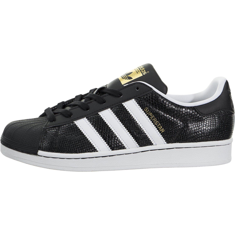 b065b012e2808 adidas Originals Boys' Superstar Reptile J Running Shoe, Black White, 4 M  US Big Kid